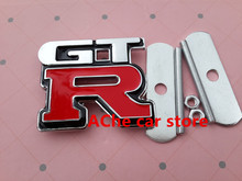 Free shipping Chrome Sticker GTR Car Front Hood Grill Badge Grille Emblem Logo stickers Auto accessories(China)