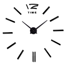 2017 new real clock watch wall clocks horloge 3d acrylic Home Decorati mirror stickers living room needle europe(China)