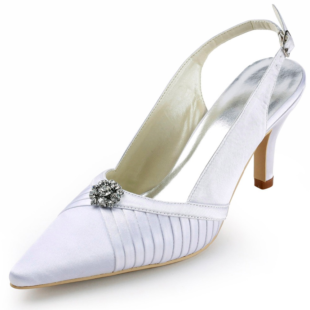 D-EP11113 White Women Evening Party Pumps Pointy Toe High Heel Ankle Strap Rhinestone Pleated  Bridal Wedding Shoes<br><br>Aliexpress