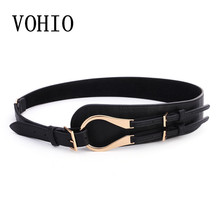 VOHIO Fashion leather women belt Double buckle high quality brand waist belt 2017 Vintage black luxury belts cummerbund swide(China)