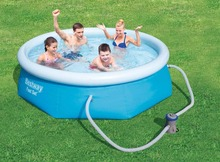"57268 Bestway 8'x26""/2.44mx66cm FAST SET POOL REENGINEED with Water Cleaner DRAIN Valve Top-ring Inflate Pool EASY TO ASSEMBLE"