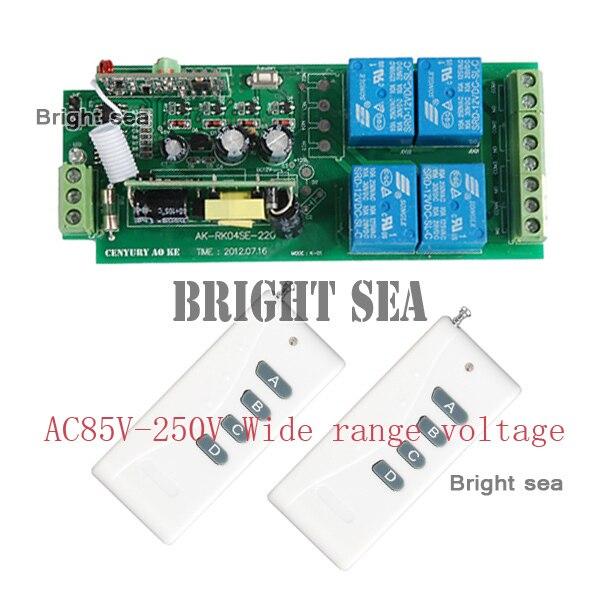315/433MHZ AC85V~250V RF 4CH 1000M Wide Voltage Multi-Function fr Wireless Remote Control Switch System switch<br><br>Aliexpress
