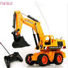 25cm 1PCS Remote Control Scale Digger Excavator Construction Truck With Lighting Engineering RC Radio Control Electric Car Toy(China)