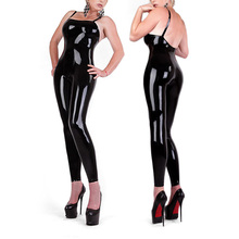 Buy Latex Rubber Bodysuit Sexy Catsuit shoulder-straps Coveralls Rubber Latex Straitjacket