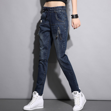ERA 2017 spring loose tight waist casual denim harem pants collapse pants female was thin trousersОдежда и ак�е��уары<br><br><br>Aliexpress