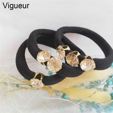 Vigueur 3pcs/lot Black Solid Color Elastic Hair Bands For Women Zircon Rhinestones   Rubber Hairband Girls Hair Accessories
