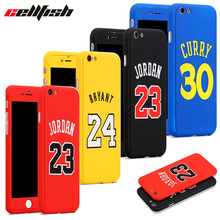 360 NBA Case + Temper Glass funda iPhone 6 6s 7 8 Plus Michael Air Jordan Kobe Bryant curry capinha iPhone Cover Jordan