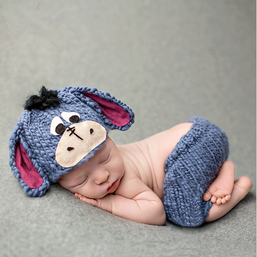 Cheap baby clothes newborn girls boys crochet Eeyore donkey costumes knit photo wearing props navy hat and pants for babies(China (Mainland))
