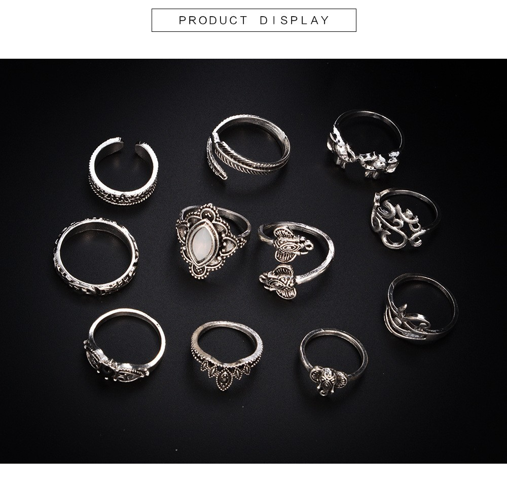 Bague Femme Vintage Rings for Women Boho Geometric Flower Crystal Knuckle Ring Set Bohemian Midi Finger Jewelry Silver Color 52