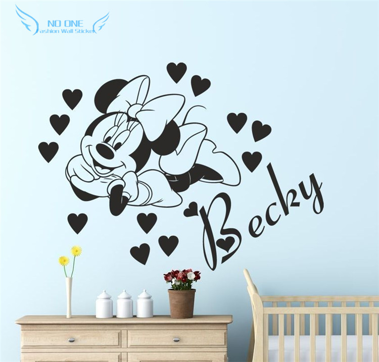Mickey Mouse Wall Sticker Decal With Personalised Name For Kidu0027 Bedroom Wall  Stickers Home Decor