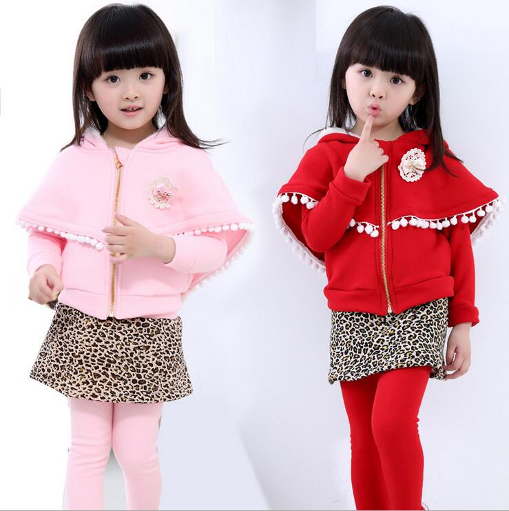 Toddler Girl Clothing Thicker Two-piece Culottes Sets Roupas Infantis Menina Hooded Cloak Coat Winer Suit For Girls <br><br>Aliexpress
