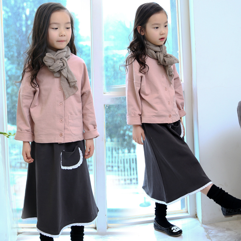 Spring Girls Simple Shirt + Skirt Suit Child Korean Fashion Two Pieces Sets Kids Clothing Pink Cotton<br>