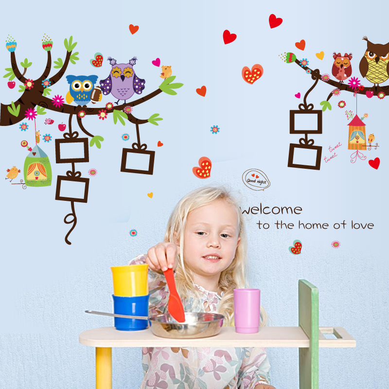 New Cartoon owl photo frame kids wall sticker for living room kindergarten nursery DIY decorative self adhesive tree wall decals(China (Mainland))