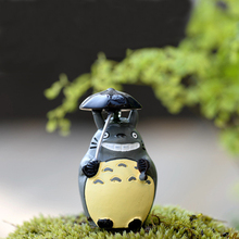 4pcs 5cm height umbrella Totoro miniature animal figurines dolls fairy garden decorations resin craft for kids Micro Landscape