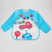 Adjustable Cartoon EVA Plastic Waterproof Long Sleeve Feeding Baby Bibs Infants Art Smock Apron Baberos Bavoir Clothing(China)