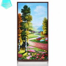 PSHINY 5D DIY Diamond embroidery sale Country road with blooming flower landscape Mosaic Full Square rhinestone diamond painting(China)
