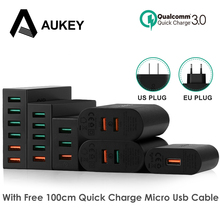 AUKEY Quick Charger EU Plug Fast Charger QC 3.0 USB Travel Universal Wall Charge Adapter + 1m Micro USB Cable For Xiaomi Redmi 5(China)