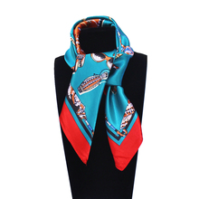 60cm*60cm Women 2017 New Fashion Imitated Silk French Brand Style High-heeled Shoes Glasses Printed Lady Square Scarf Hot Sale