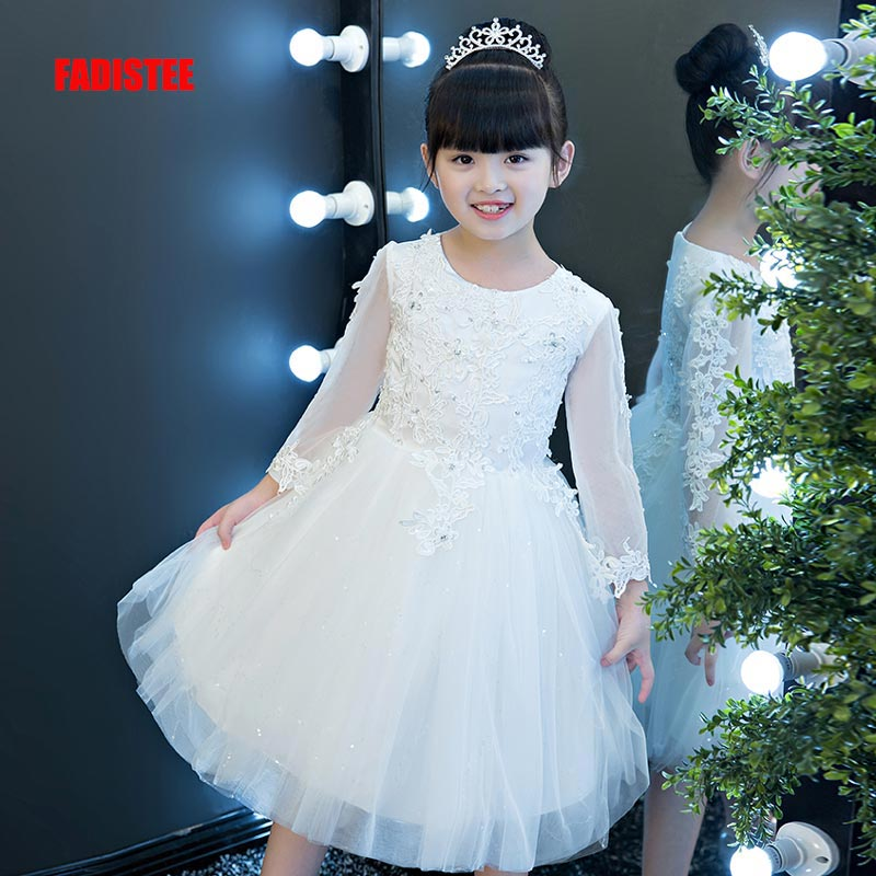 FADISTEE New Arrival  Pretty Flower Girl Dresses appliques lace Baby Girl Dress beading crystal sweet style dresses