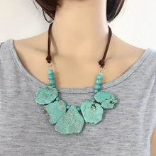 Free Shipping New Statement Chunky Collar Natural Stone Necklace(China)