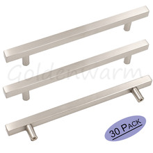 Drawer Pulls Kitchen Cabinet Hardware Goldenwarm LSJ22BSS Brushed Nickel Stainless Steel Square T Bar Drawer Handles 30 Pieces