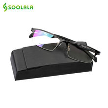 SOOLALA Aluminum Magnesium Reading Glasses Men Women Custom Myopia Glasses Spring Hinge Semi-Rimless Frame +0.5 1.25 1.75 to 4.0