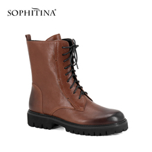 SOPHITINA 2018 New Hot Woman Motorcycle Boots 편안한 (High) 저 (질 Ankle Boots Retro Lace-업 와 Genuine Leather Shoes m45(China)