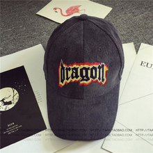 2017 Star with A Baseball Cap and Corduroy Embroidery Fire Letters Curved Eaves Peaked Caps Hats for Women and Men H055