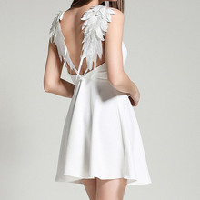 Buy 2017 women fashion backless Angel's wings sexy dress white/black lace sleeveless dresses slim vestidos de festa dress for $9.86 in AliExpress store