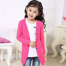 Fashion Colorful Button Kids Long Knitted Cardigan Girl Sweater Wear Girls Knitwear Coat Cute Sweater