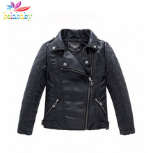 Belababy Girl Jackets 2017 New Spring Girls Faux Leather Coat Kids Boy Casual PU Outerwear Motorcycle Leather Coats For Girls(China)
