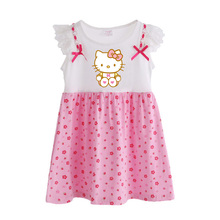Hello Kitty Girls Dress Summer 2017 New Baby girls dresses Petal Sleeve Baby girl clothes Print floral T6104(China)
