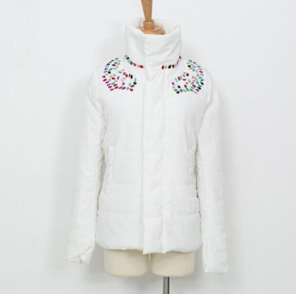Winter Jacket Women 2015 Rhinestone Colorful White Parkas Turtleneck Snow Wadded Cotton-Padded Coat Short Female Parkas H243Одежда и ак�е��уары<br><br><br>Aliexpress