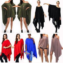 2016 Womens Sexy Loose Poncho Top Tunic Asymmetric Blouse Shirt Club Party Mini dress WHolesale