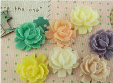 DIY accessories wholesale, high quality resin flower ring diamond brooch phone stickers material 100pcs mixed color 16mm(China)