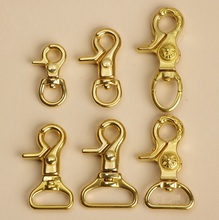 Length 35mm Pure Brass Casting SWIVEL CLIPS SNAP COPPER Key Chain Hook TRIGGER Lanyard Lobster Clasp Bag Hardware