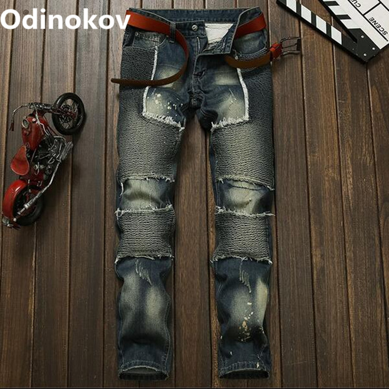 Odinokov Brand 2017 New Fashion Men Jeans New Arrival Design Slim Fit Fashion Ripped Jeans For Men Good Quality BlueОдежда и ак�е��уары<br><br><br>Aliexpress