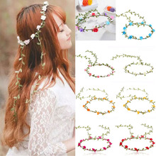 Rose Flower Crown Headband Hair Garland Bride Wedding Headwear Beach Accessories R2(China)