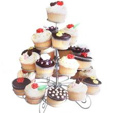 4-Tier 23-Cup Metal Christmas Tree Design Cupcake Display Stand Holder Party Supplies(China)