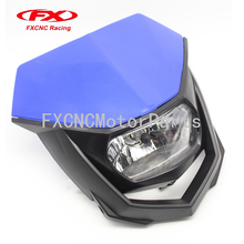 H4 Headlight Blue Motorcycle Enduro Head Light Husqvarna WR 125 For all Dual Sport Dirt bikes Street Fighter Naked motorcycle