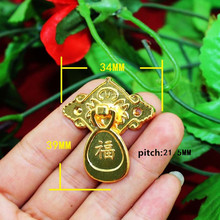 Wholesale Antique Handle Drawer Wardrobe Door Handle With Screws Zinc Alloy,Gold Color,34*39mm,40Pcs(China)