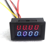 4 Bit Digital Voltmeter Ammeter DC 200V 10A Red Blue LED Dual Display Voltage Amp Panel Guage 12v 24v Car Current Monitor Tester