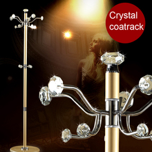 100% crystal coat racks shining crystal hanger Multi hooks,hook rotation clothes rack living room furniture armario ropero(China)