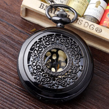 Vintage Black Flower Carving Hollow Quartz Pocket Watch Mens Watch With Necklace Chain Round Dial Women Pocket Watch P224