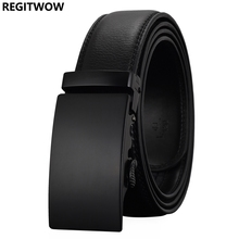 REGITWOW Fashion Cheetah Men Automatic Buckle Leather luxury Tactical Belts Business Alloy buckle Belts for Men