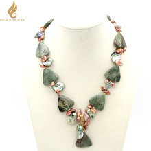 2017 NEW fashion Triangle Green Opal With Keshi Pearl Necklace Jewelry