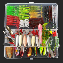 New 8 Style Multi Fishing Lure Mixed Colors Plastic Metal Bait Soft Lure Kit Fishing Tackle Wobbler Spoon pesca iscas artificias(China)