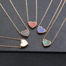 Rose gold color love heart necklaces & pendants colar feminino,red/blue double-sided love necklace women stainless steel jewelry