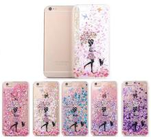 Dynamic Liquid Star Glitter Sand Quicksand Umbrella Girl Crystal Clear Cartoon Cover Phone Case For iphone 6 6s 7 plus 7plus 6 s(China)