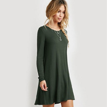 Buy 2017 Plus Size Elastic Dress Winter Vestidos Autumn Womens Long Sleeve Dress Ladies Casual Loose Solid O Neck Dresses Loose for $10.45 in AliExpress store